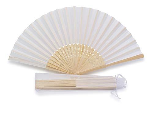 Confezione da 50 ventagli in Seta per Matrimonio Bianco + sacchettino Individuale in Organza, Il Tuo Regalo per Gli invitati Bianco (50 Ventagli)