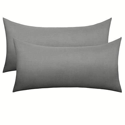 eletecpro Kissenbezug 40 x 80 cm 2 Stück 100% Mikrofaser Kissenhüllen mit Hotelverschluß, Grau Kissenbezüge Super weich, Anti-Falten, Farbechte, Hypoallergen, in großer Farbauswahl