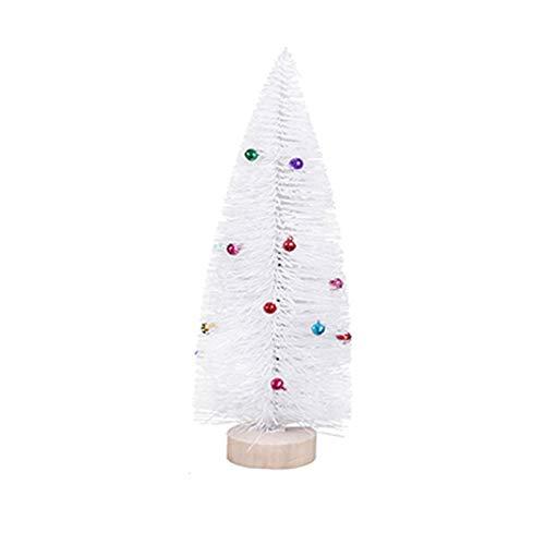 Hzdmfgs Albero di Natale Glitter Pino Ago Little Alberi Mini Bianco Albero di Natale con Campane Colorate Natale Decorazioni da Tavolo Natale Albero Natale (Color : 21cm)