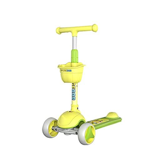 PTHZ Scooter Infantil, Scooter para niños pequeños de 3 Ruedas, niños y niñas de 3 a 12 años Aprende a dirigir, 4 Altura Ajustable y Ruedas de Flash de PU, Regalos para niños,Amarillo