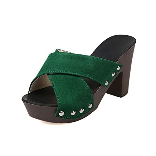 Pantofole Floreali estive,Moda Spesso con Sandali da Donna. Pantofole Senza Fondo della Bocca dei Pesci della Gente Sexy-Verde_38,Scarpe estive durevoli