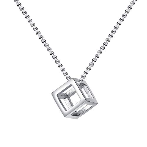 HIJONES Men's Titanium Steel Cube Pendant Necklace Hollow Out Three-Dimensional Happy Cube Silver