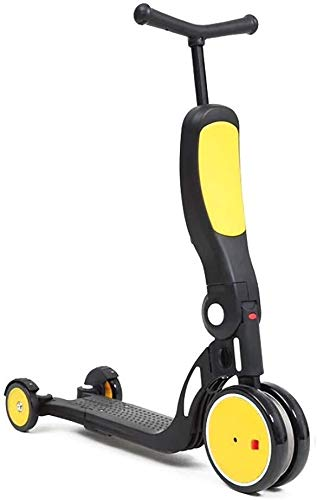 Best Deals! HNSYDS Height-Adjustable Scooter Yellow 5-in-1 Child Step-Balanced Tricycle with Pedals ...