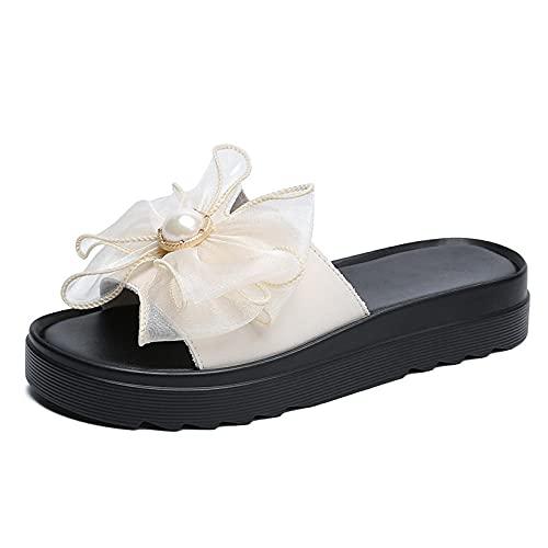 Sandali in Neoprene,Slip in Pelle Indossare Pantofole, Centinaia di densimi Sandali Comodi-Beige_38,Infradit Bambina