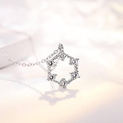 GYUFU Collar de Regalo para Mujer Collar de Diamantes de Plata Esterlina S925 con Estrella de Seis Puntas, Cadena de Clavícula de Moda Y Versátil,Plata, Plata 925