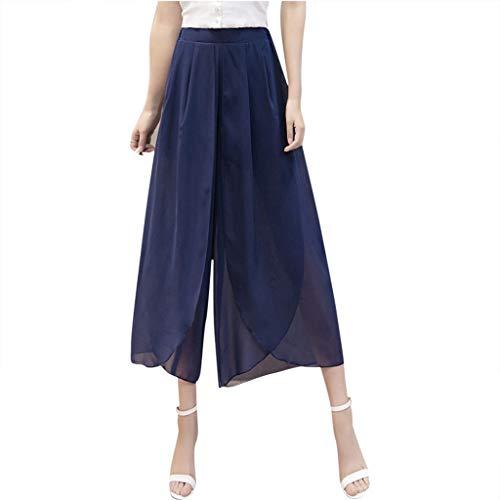 Lulupi Hose Damen Weite Hosen Große Größen Elegante Luftig Chiffon Palazzo Hosen Fashion Casual Mädchen Loose High Waist Hosenrock Culotte