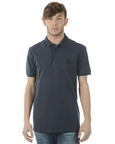 Versace Collection Men's Medusa Logo Regular Fit Pique Polo Shirt Navy