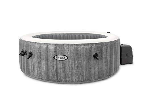 Intex Whirlpool Pure SPA Bubble Massage Greywood Deluxe - Ø 196 x 71 cm, für 4 Personen, Fassungsvermögen 795 l, graue Holzoptik, 28440