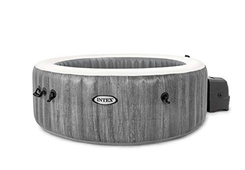 Intex Whirlpool Pure SPA Bubble Massage Greywood Deluxe - Ø 196 x 71 cm, für 4 Personen, Fassungsvermögen 795 l, graue Holzoptik, 28440
