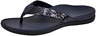 Vionic Women's Tide Sequins Toe Post Sandals - Ladies Flip Flop Sandals with Concealed Orthotic Arch Support