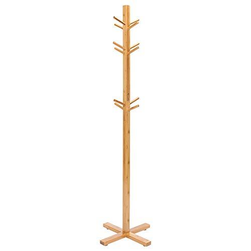 FEIFEI Présentoir en forme d'arbre en bambou debout libre avec 3 crochets de 12 rangs et pieds solides pour vêtements, foulards et chapeaux, couleur naturelle bambou