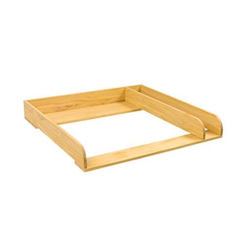 Puckdaddy Wickelaufsatz Peter – 80x78x10 cm, Wickelauflage aus Holz in Natur, hochwertiger Wickeltischaufsatz mit Trennfach passend für Kommoden, inkl. Wandbefestigung