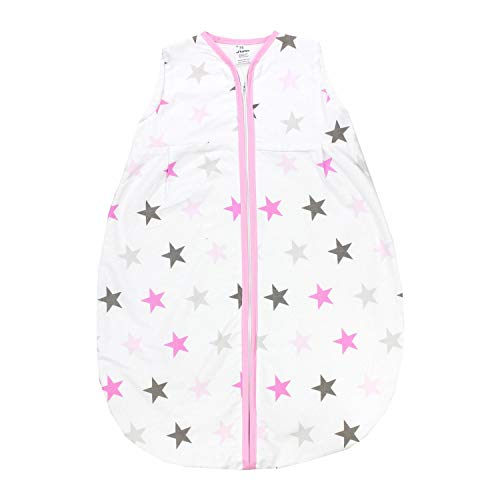 TupTam Baby Sommer Schlafsack Ärmellos Unwattiert, Farbe: Sterne Rosa Grau, Größe: 104-110