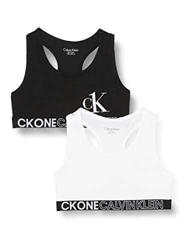 Calvin Klein 2pk Bralette lot de 2, fille - Blanc (Pvhwhite/Pvhblack) - 8-10 ans