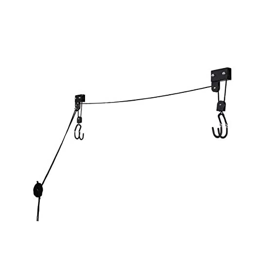 RAD Sportz Kayak Hoist Set – Overhead Pulley System with 125 lb Capacity for Kayaks, Canoes, Bikes, or Ladder Storage (2… 7 SET OF 2 CEILING HOISTS – The set of 2 storage hoists are ideal for keeping your kayaks, canoes, bikes, or ladders suspended overhead for convenient out of the way storage in your garage or shed PULLEY SYSTEM – The hoists utilize a pulley system with a safety locking mechanism that makes it easy to lift and safely store equipment up to 125-pounds RUBBER COATED HOOKS – The hooks are designed with a rubber coating to protect your kayak or canoe from scratches
