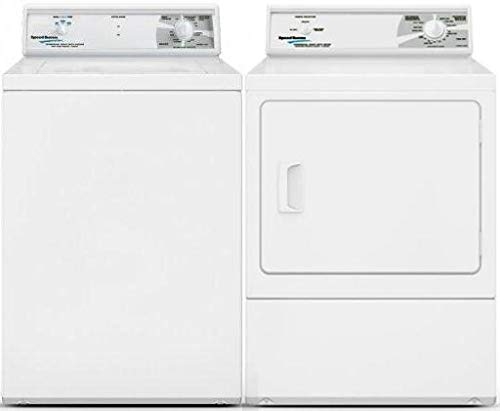 Speed Queen Top Load LWN432SP115TW01 26' Washer with Front Load LDE30RGS173TW01 27' Electric Dryer Commercial Laundry Pair in White