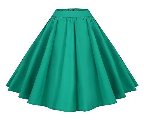 Lolichy Vrouwen 1950 Vintage Stijl Bloemen Gedrukt Elastische Taille Swing Casual Party Rok met Zakken