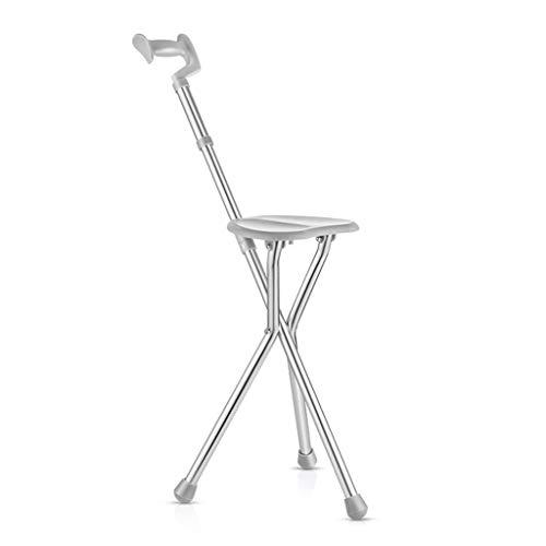 ShiLiLiShop Bastones Multi-pod Plegable Asiento De Mimbre Muleta Cátedra De Tres Patas Antideslizante Walking Chair Palillo De Ancianos Bastón Retráctil Walker Palillo De Heces