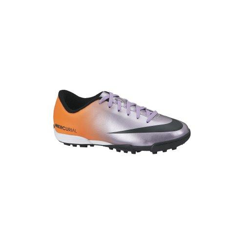 Nike Jr Mercurial Vortex TF - Botas para niño, Color Plateado/Negro/Naranja, Talla 37.5
