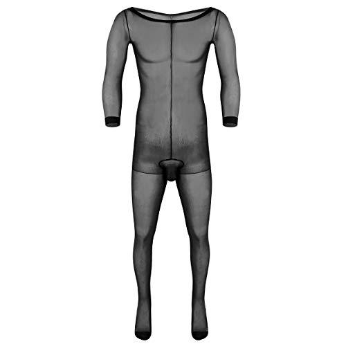 iiniim Herren Body Overall Transparent Einteiler Ganzkörperanzug Strumpfhosen mit Penishülle Männer Unterhemd Unterwäsche Schwarz Einheitsgröße