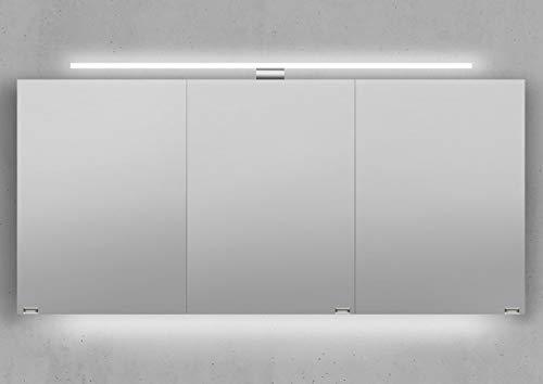 Intarbad ~ Spiegelschrank 150 cm LED Beleuchtung doppelseitig verspiegelt Weiß Hochglanz Lack IB5407