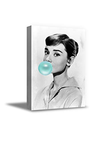Funny Ugly Christmas Sweater Audrey Hepburn Modern Wall Art Canvases Blue Bubble Gum Audrey Hepburn Print Audrey Hepburn Canvas 4 8' x 10'