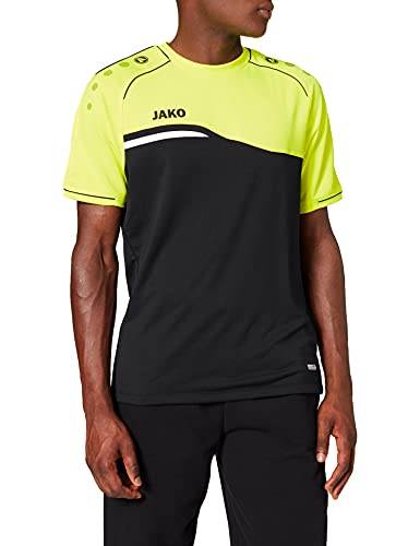 JAKO 6118 Competition 2.0 - T-Shirt Donna, Nero/Giallo Fluo, 34