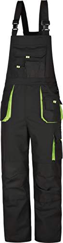 Truiso Arbeits-Latzhose Latzhose Power Worker Latzhose schwarz-grün Canvas-Gewebe 270g/m2 Gr.42-68/90-110/25-30 … (29)