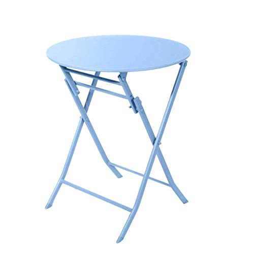 WTT Opklapbare tafel Tuintafels Eettafel Buiten salontafel - Smeedijzeren metalen tafel Moderne minimalistische stijl salontafel Eenvoudig schoon te maken Kleine eettafel (Kleur: blauw)