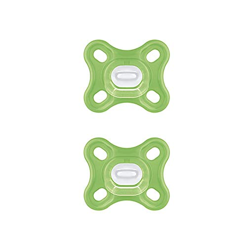 MAM Chupete Comfort S192 - Chupete Ligero de Una Sola Pieza Todo de Silicona Skinsofttm Utrasuave, para Recién Bebés de 0 a 2 Meses y Prematuros, con Caja Autoesterilizadora, Verde, 2 Unidades