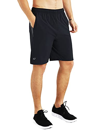 EZRUN Mens 9 Inch Lightweight Running Workout Shorts with Liner Loose-Fit Gym Shorts for Men with Zipper Pockets(Black,M)