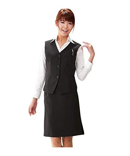 [nissen(ニッセン)] タイトスカートなのに足さばき◎理想のベストスーツ(丈58cm) レディース 黒地ストライプ 15号
