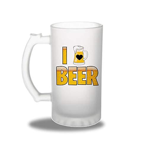 Boccale da Birra in Vetro Satinato 16 OZ Personalizzabile con Testo Foto e Immagini Ottimo per Bar, ristoranti e casa o Come Regalo per Eventi aziendali, Matrimoni, anniversari, Compleanni