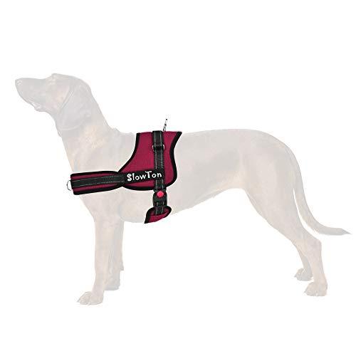 SlowTon Sin tirones Arnés de Perro, Suave Malla Acolchada Ajustable Fácil de Poner y Quitar el arnés con Hebilla de Bloqueo para Perros Grande Mascotas (L, Borgoña - Anillo Dual D)