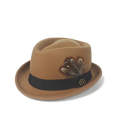 Xuguiping Outdoor 2019 Fedora hoed heren hoed vilt wol veer metaal decoratie panama gangster hoed jazz knight mode vrouwen retro 56/58 cm kaki