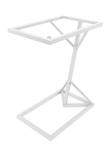 Smeedijzeren salontafel/kleine bijzettafel, glazen spiegel tafelblad, roestvrij metalen tafelframe, moderne minimalistische woonkamer bank wit (58 × 45 × 30cm)