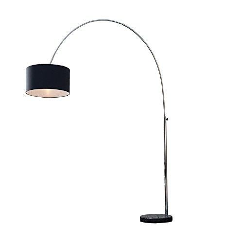 Design Bogenleuchte LOUNGE DEAL mit schwarzem Natur Leinen Schirm ausziehbar Stehleuchte Wohnzimmerlampe Bogenlampe