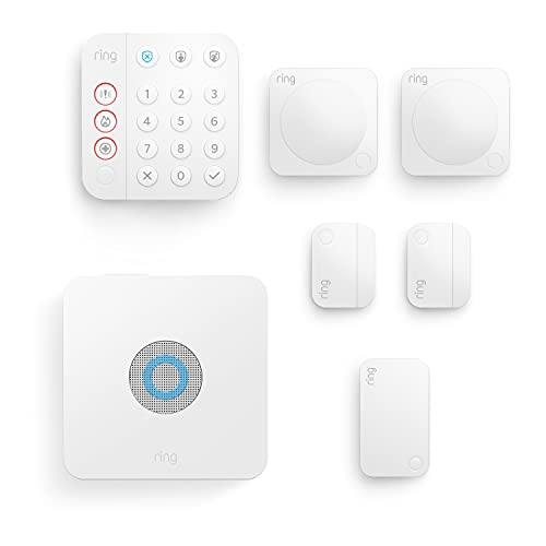 Nuevo kit de 7 piezas Ring Alarm de Amazon (2.ª generación) | Sistema de seguridad para el hogar compatible con Alexa y con vigilancia asistida opcional, sin compromisos a largo plazo