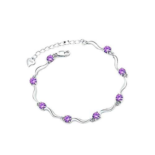 YZLSM Bracciale Donne cristallo polso regolabile Wavy Bangle Elegante polso il braccialetto per la donna Girlfriend Viola 1PC Interruttore Bracciale cristallo