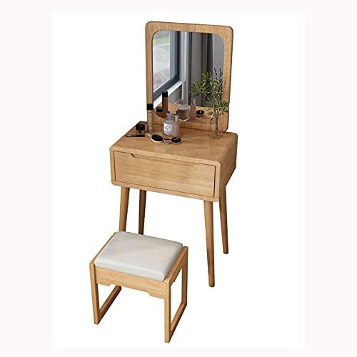Tocador Mesa Cosmética Conjunto de Mesa de vanidad, Mesa de Maquillaje con Espejo y Taburete, tocador de Madera pequeño con 1 cajón para niñas Mujeres Muebles de Dormitorio Escritorio de Maquillaje