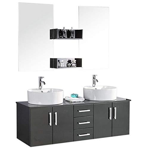 Mueble de baño con doble lavabo, modelo Butterfly, 150cm, grifos incluidos