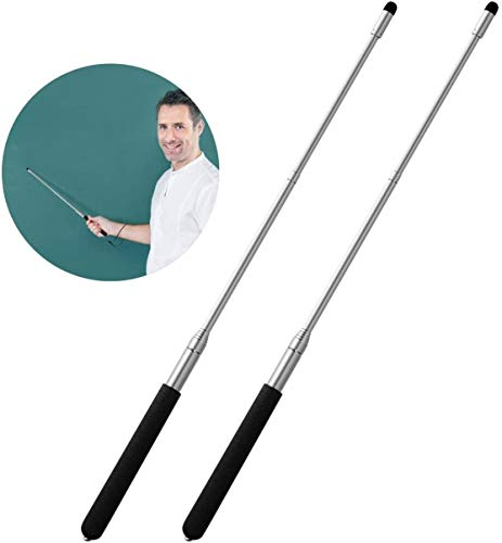 Teachers Pointer Sticks, 2 Pack Telescopic Teaching Pointer, Extendable Retractable Whiteboard Pointer with A Lanyard (Black)