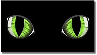 AK Wall Art Green Eyes on Black Vinyl Sticker - Car Phone Helmet - Select Size