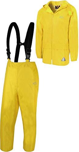normani Regenanzug Set aus Regenjacke und Hosenträgerhose - 100% wasserdicht, absoluter Wetterschutz Regenbekleidung Farbe Gelb Größe L