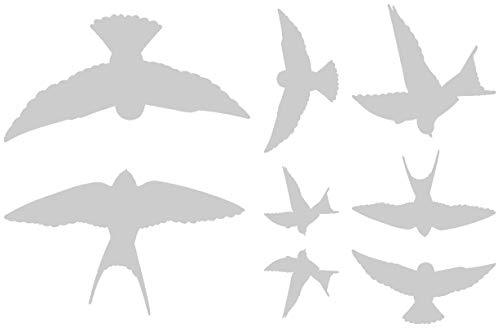 Samunshi® Wandtattoo Vogelschutzaufkleber Schwalben-Set in 5 Größen und 25 Farben (75x50cm silbermetalleffekt)