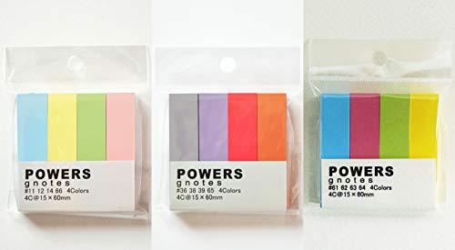 プリントインフォームジャパン gnotes 粘着力と糊面積アップ ふせん紙 「POWERS」4C@15×60mm 【3種類x1個セット】