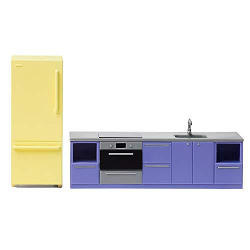 Lundby 60-305500 - Küche Puppenhaus - Möbel 2-teilig - Puppenhauszubehör - Küchenzeile - Herd - Ofen - Kühlschrank - Kücheninsel - Küchenset - Zubehör - ab 4 Jahre - 11 cm Puppen - Minipuppen 1:18