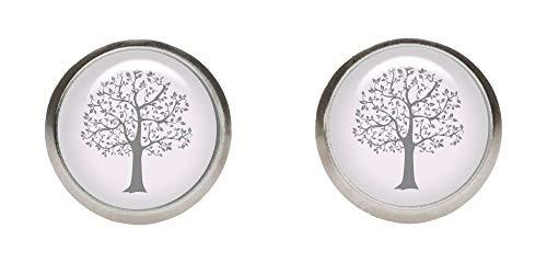 KT-Schmuckdesign Edelstahlorstecker in grau rosa mit Motiv Baum, 2 kleine Ohrringe mit hochwertigem Cabochon aus Glas