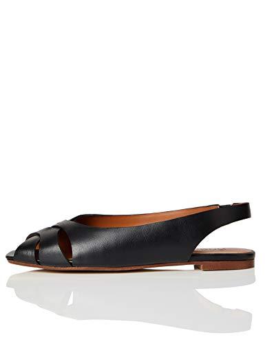 FIND Peep Toe Crossover Slingback Sandal Sandalias de Punta Descubierta, Negro (Black), 40 EU