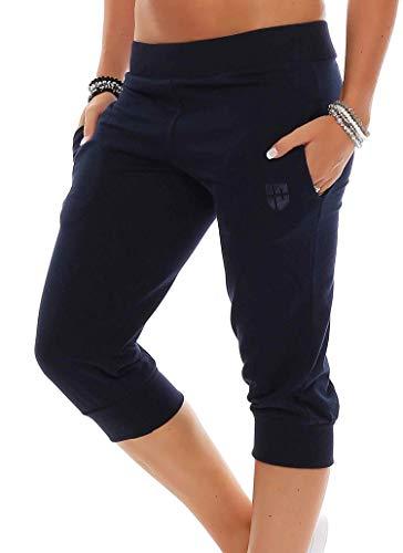 Gennadi Hoppe Damen 3/4 Trainingshose Sporthose Kurze Hose Sport Fitness Jogginghose Shorts Barmuda, blau,L